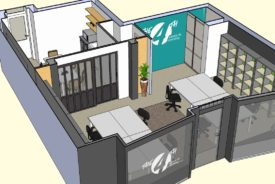 projet 3D du local vue globale, the 4th coworking Rennes